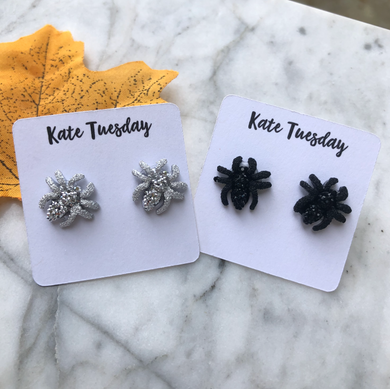 Glittery Spider Earrings