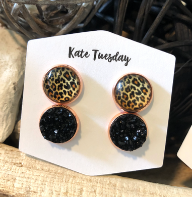 Double Black + Cheetah Druzy Earrings Set