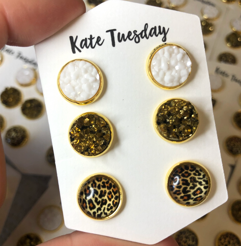 Cheetah White + Gold Druzy 10mm Earrings Triple Set
