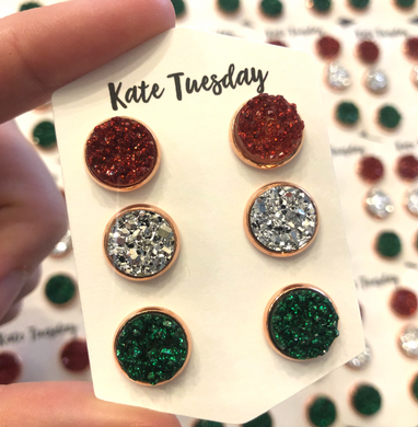 Sparkle Holiday Red, Green and Silver 10mm Druzy Triple Set