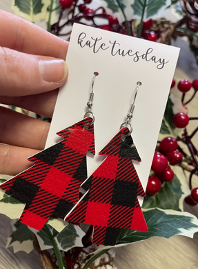 Christmas Tree Plaid Faux Leather Earrings