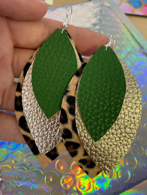 Holiday Sale Leather Earrings! Green