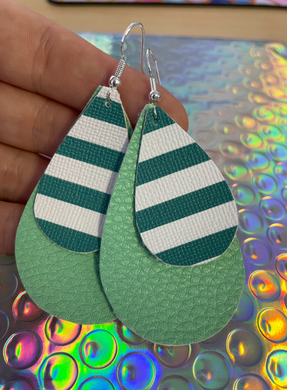 Holiday Sale Leather Earrings! Green Stripe