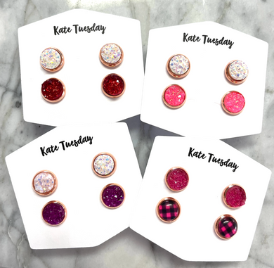 Valentine's Druzy 8mm Earring Sets