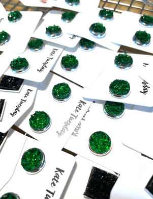 Black Square Druzy Earrings + 10mm Green Druzy Earrings