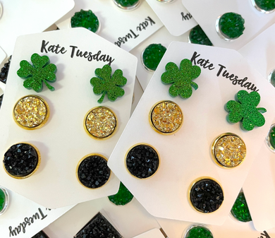Triple St Patties Day Shamrock Clover Druzy Earring Set 10mm