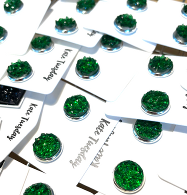 10mm Green Druzy Earrings