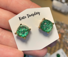 Green Glitter Stud Earrings