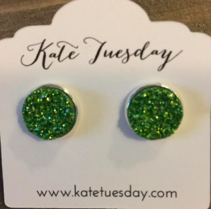 Green Envy 12mm Druzy Earrings