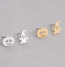 Silver + Gold Jack O Lantern Pumpkin + Ghost Stud Earrings