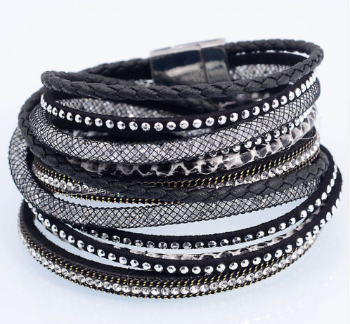Black Wrap Beaded Bracelet Cuff