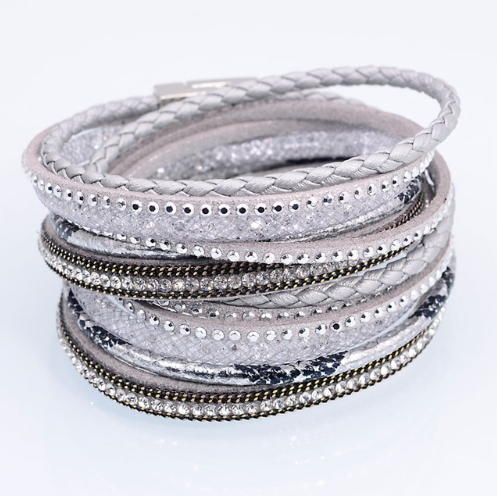 Light Purple Grey Wrap Beaded Bracelet Cuff
