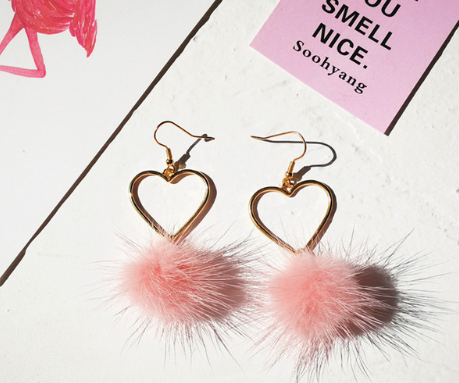 Small Gold Heart Hoops + Pom Poms Earrings