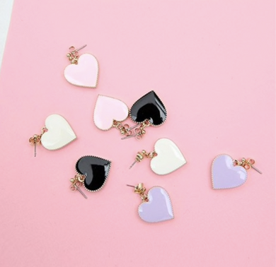 Heart Stud Dangly Earrings
