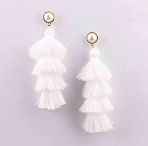 White Tassel Pearl Stud Earrings
