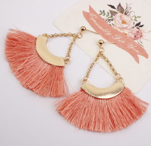 Pink Peach Silk Fan Earrings