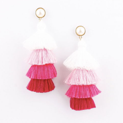 Pink Tassel Pearl Stud Earrings