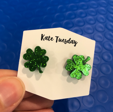 Glitter Acrylic St. Patties Day Clover Earrings 4 Leaf