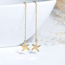 Gold Starfish Thread Earrings