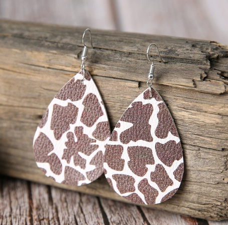 Faux Leather Giraffe Animal Print Earrings