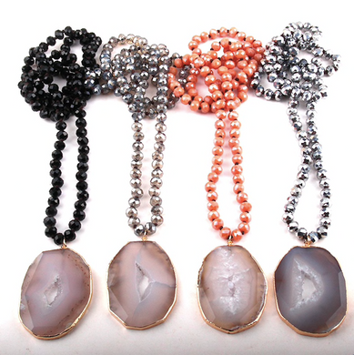 Moon Stone Crystal Statement Piece Necklaces