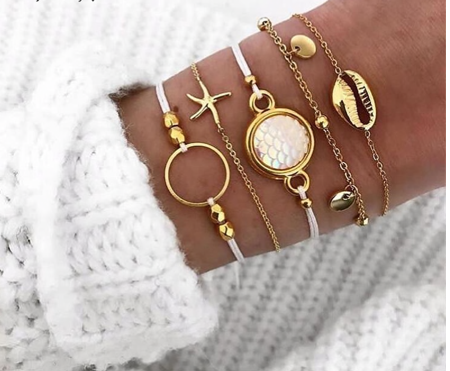 Gold Mermaid Summer Bracelet Set