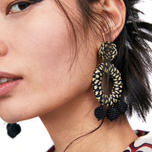 Kate Woven Black Fall Hang Earrings