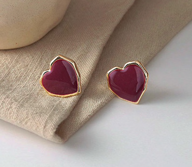 Red Shiny Heart Stud Earrings