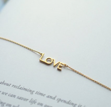 Gold Mom and Love Necklace