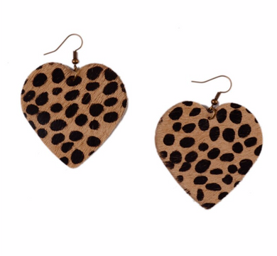Cheetah Leopard Hair Heart Earrings