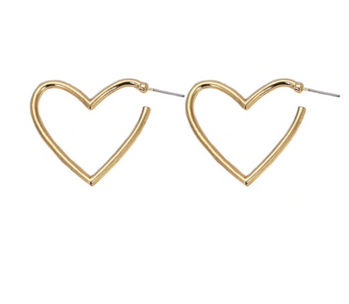 Gold Heart Earrings Flat