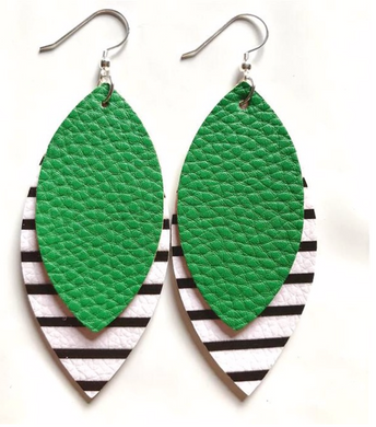 Green Black White Stripe 2 Layer St Patricks Day Faux Leather Earrings