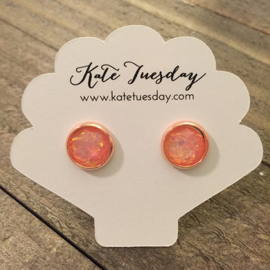 Peach Flake 10mm Like Druzy Earrings