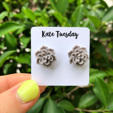 Succulent Flower Stud Earrings - Grey
