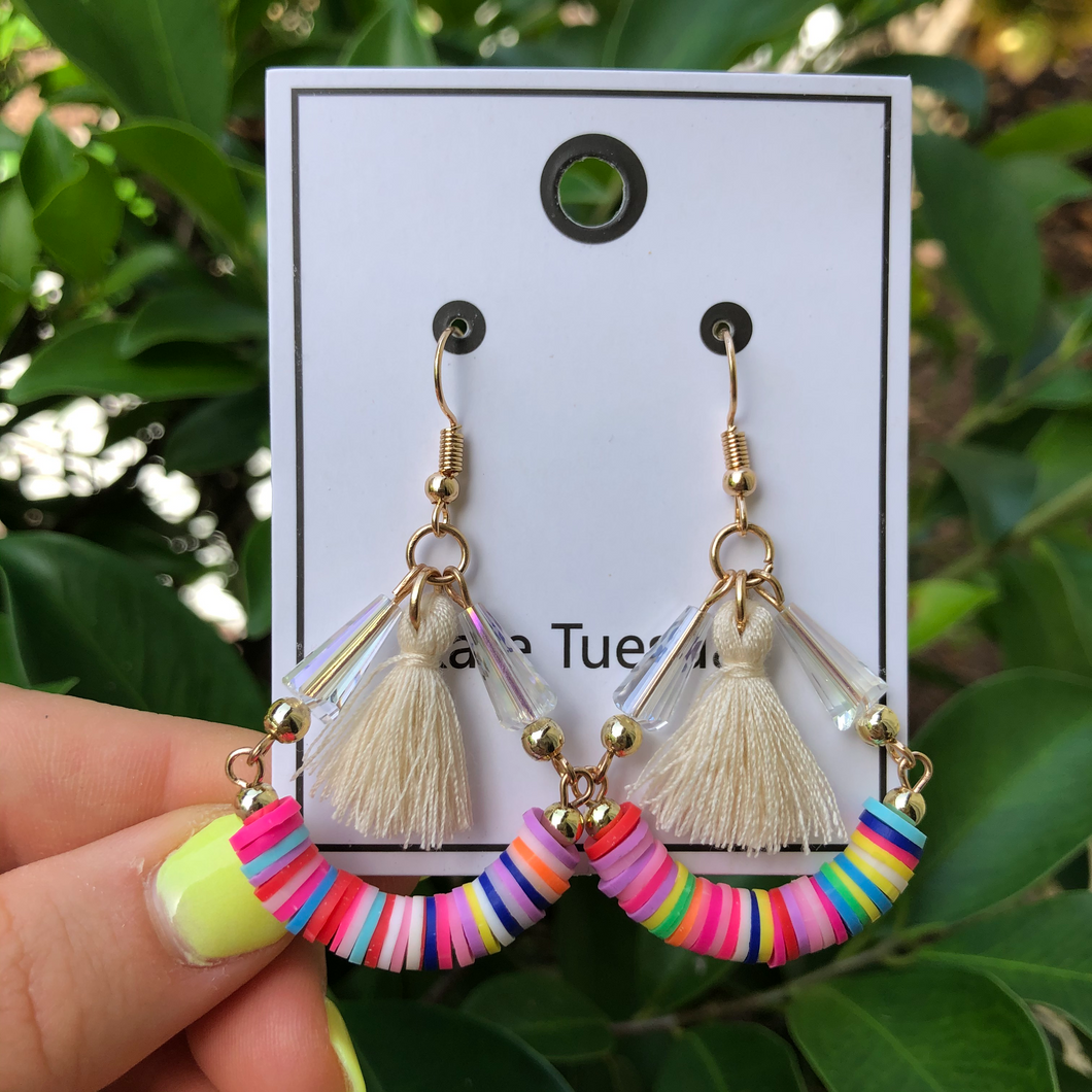 Funfetti Tassel Hang Earrings - White