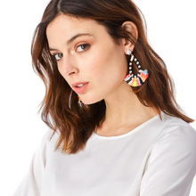 Pink Denver Marble Embroidery Tassel Fringe Earrings Pre Order