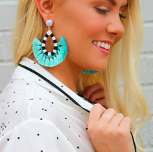 Multi Denver Marble Embroidery Tassel Fringe Earrings Pre Order