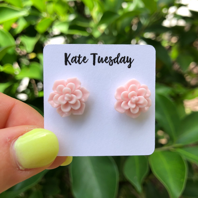 Succulent Flower Stud Earrings - Light Pink