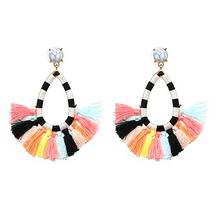 Multi Light Denver Marble Embroidery Tassel Fringe Earrings Pre Order