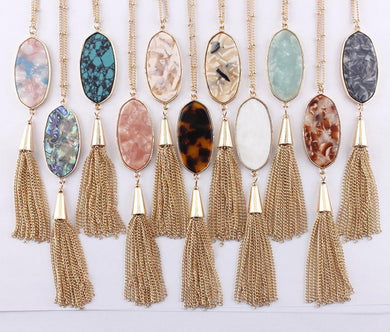 Abalone Shell Necklaces with Gold Tassel