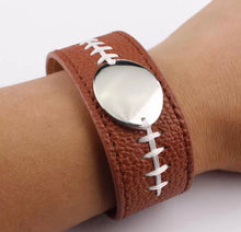 Football Leather Wrap Bracelet Cuff