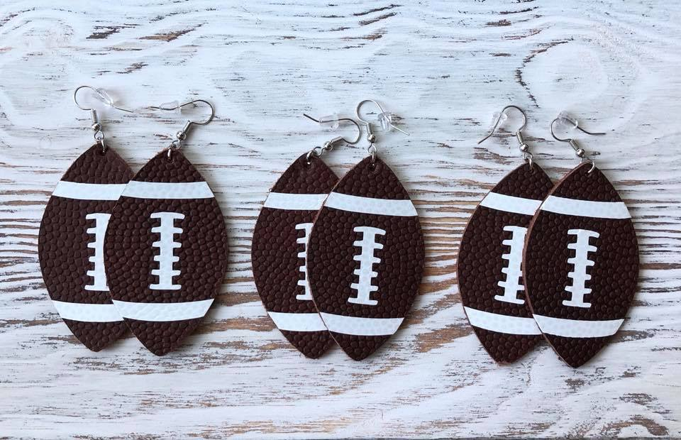 Football Leather Hang Earrings