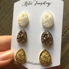 Teardrop Druzy Earrings Set