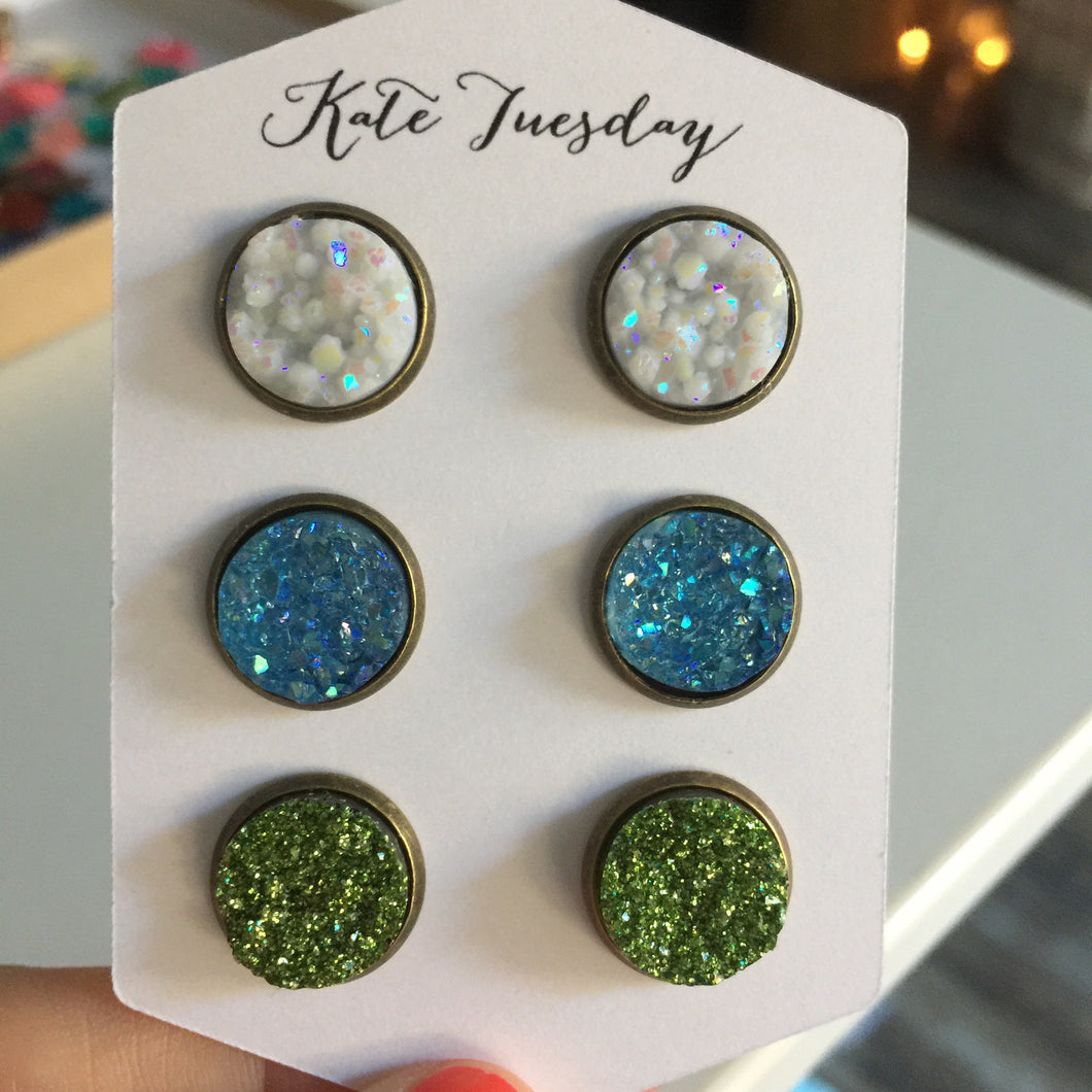 Bronze Babe Set of 12mm Druzy Earrings