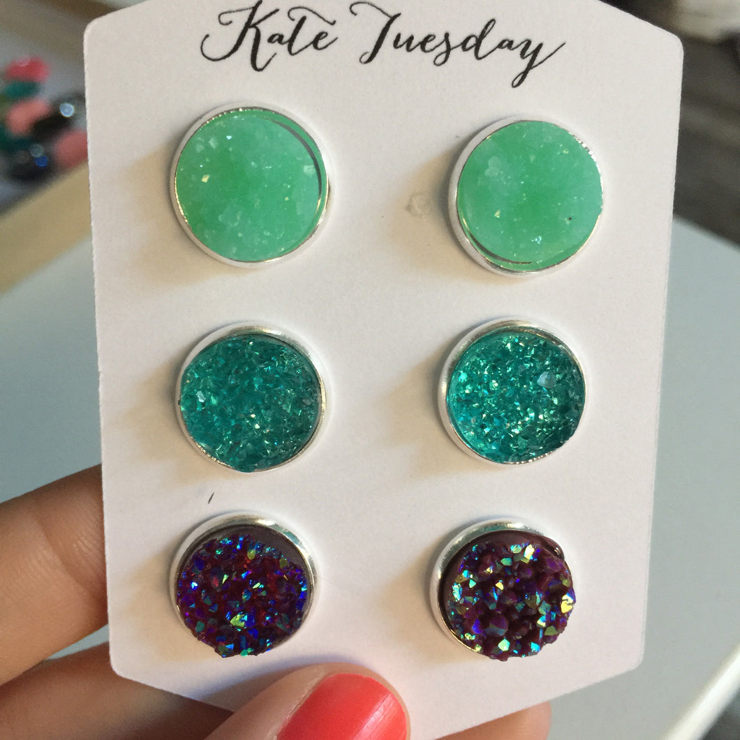 Summer Blues Set of 12mm Druzy Earrings