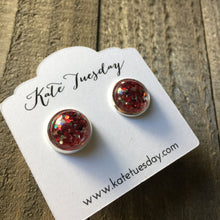 Red Sparkle Like Druzy Earrings