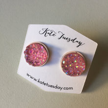 Soft Pink Druzy Earrings