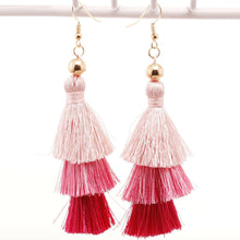 3 Layer Hot Pink Tassel Earrings