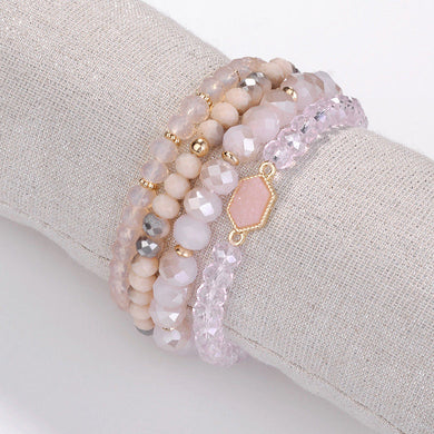 Pink Druzy Stretchy Bracelet Set