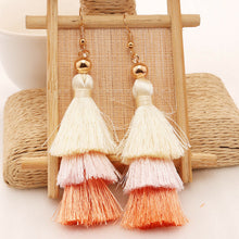 3 Layer Light Pink Tassel Earrings